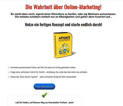 Nebeneinkommen mit Online-Marketing, Fertiges Konzept